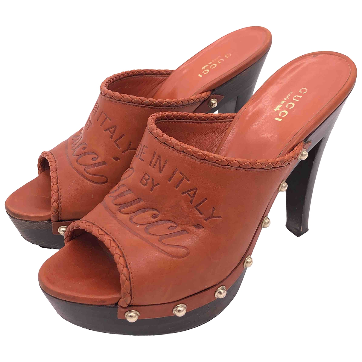 Gucci \N Brown Leather Mules & Clogs for Women 36.5 EU