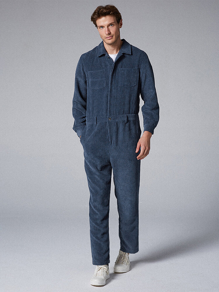 Mens Corduroy Solid Color Vintage Turn Down Collar Chest Pocket Casual Jumpsuits