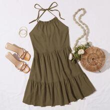 Kleid mit Band hinten, Rueschenbesatz und Neckholder