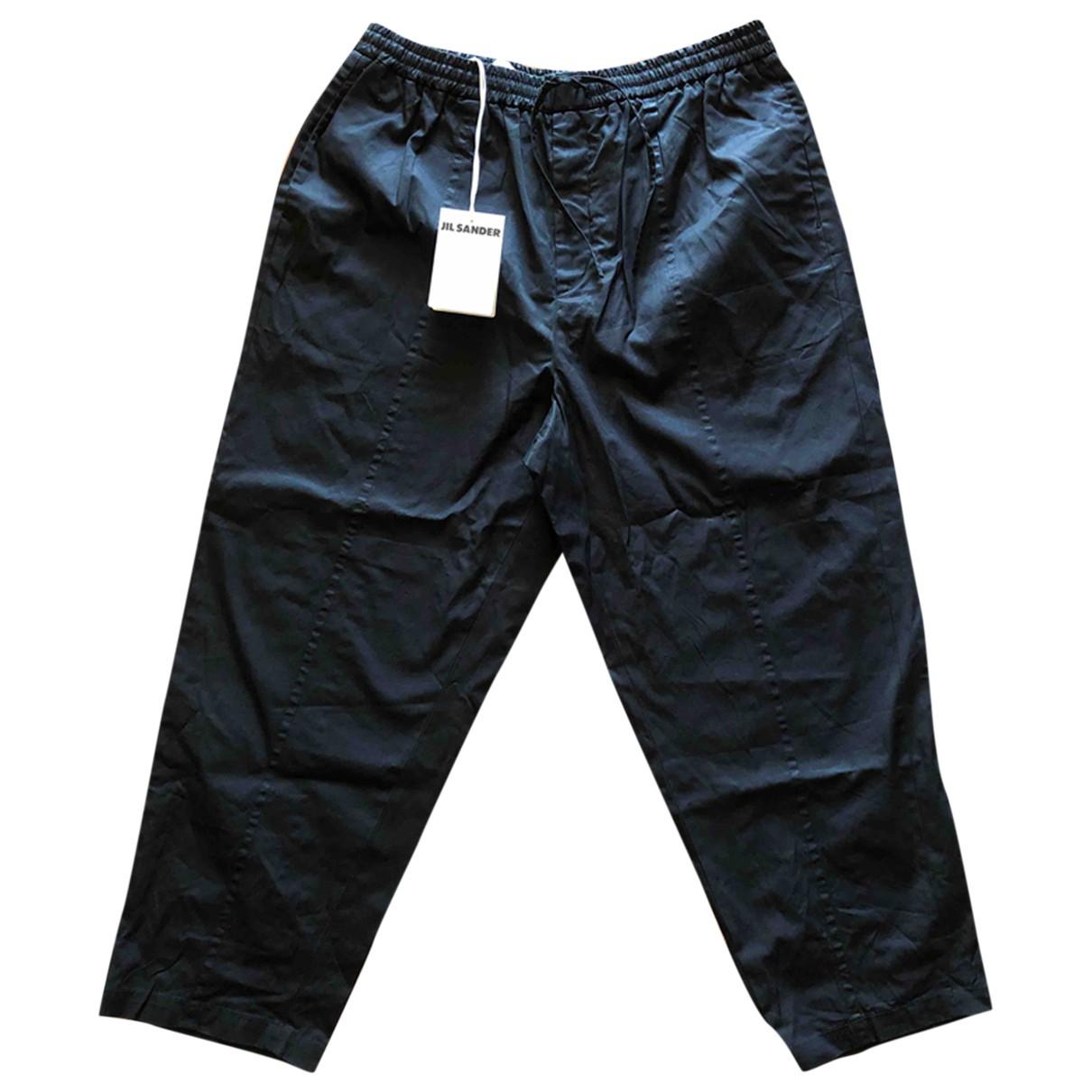 Jil Sander \N Black Cotton Trousers for Men 56 IT