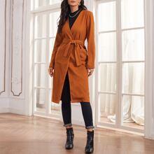 Mantel mit offener Vorderseite, zwei Taschen und Guertel