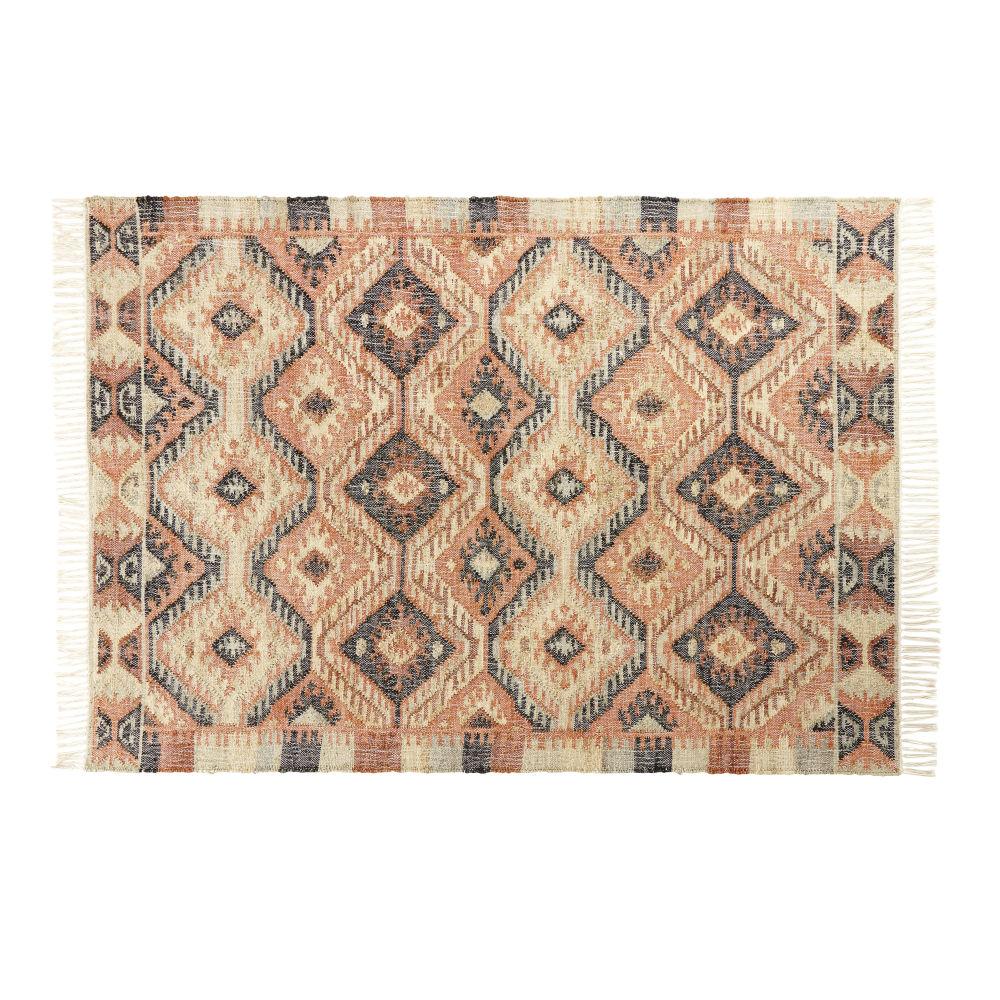 Kilim-Teppich aus mehrfarbiger Baumwolle und Jute 160x230
