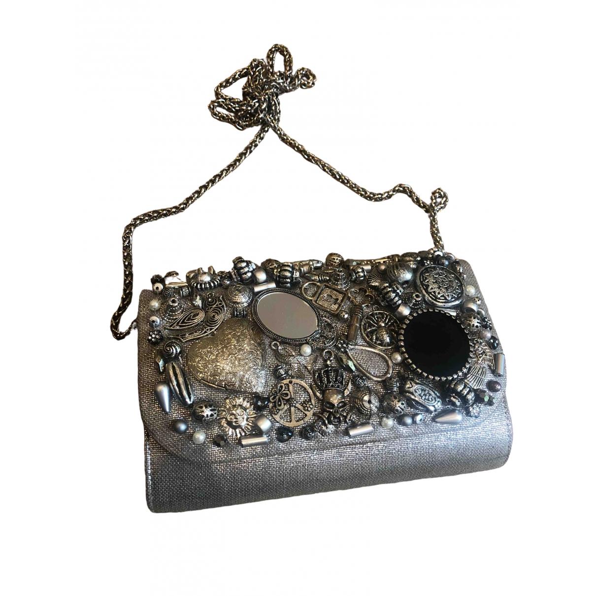 Sarahs Bag \N Clutch in  Silber Leinen