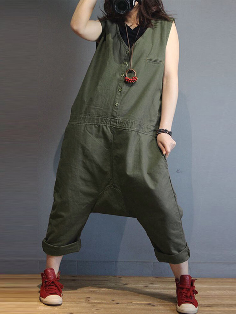 Pure Color V-neck Loose Button Pants For Women