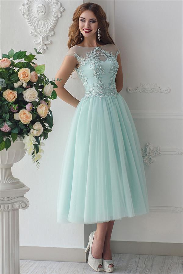 Elegante Tee Lange Mint Green Brautjungfernkleider Gunstige | Perlen Brautjungfernkleider Applikationen