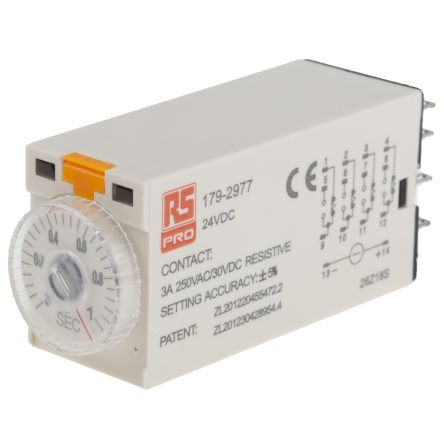 RS PRO 4PDT Time Delay Relay - 0.1 → 1 s, 4 Contacts, On-Delay, Plug In