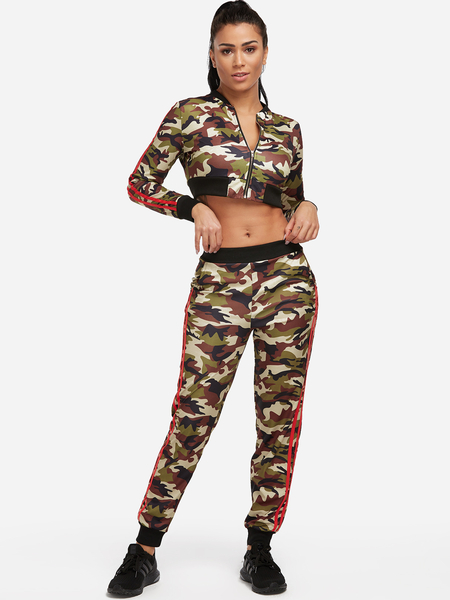Yoins Army Green Side Pockets Camouflage Long Sleeves Active Tracksuit