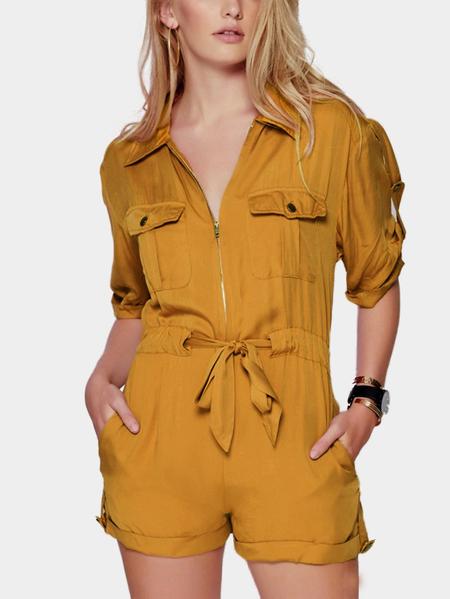 Yoins Yellow Short Sleeve Drawstring Brigadier Playsuit with Acute Collar