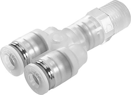 Festo Pneumatic Double Y Threaded-to-Tube Adapter, R 1/8 Male Thread, 4mm Tube Connection