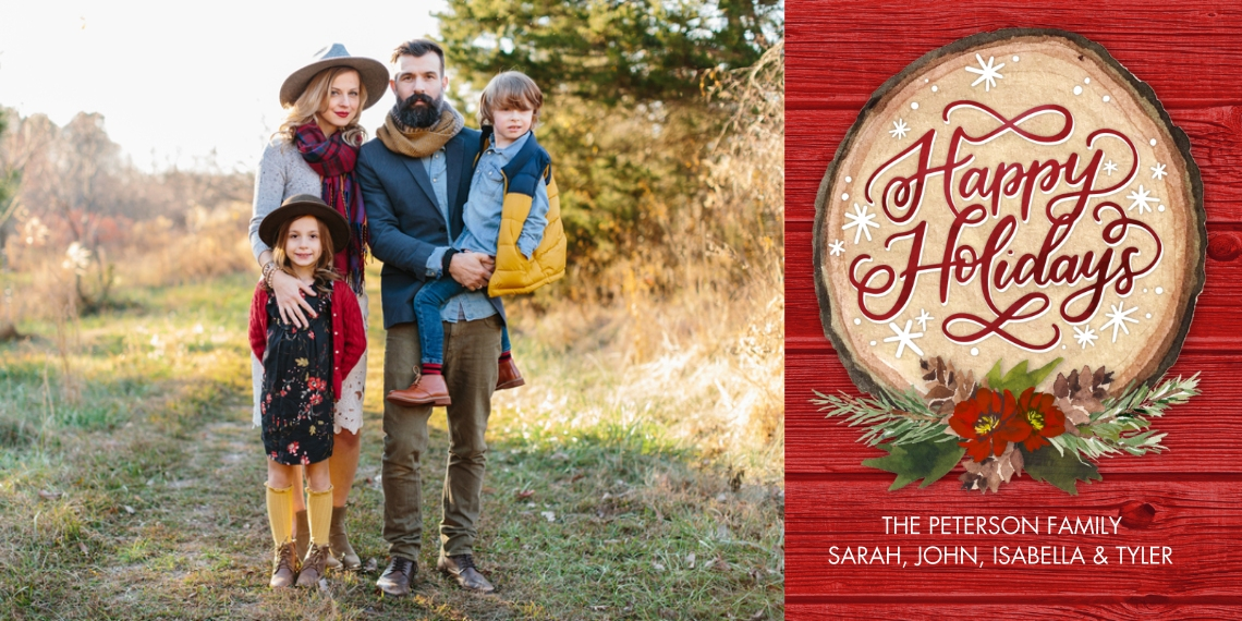 Holiday Photo Cards Flat Glossy Photo Paper Cards with Envelopes, 4x8, Card & Stationery -Holiday Script Wood Plaque by Tumbalina