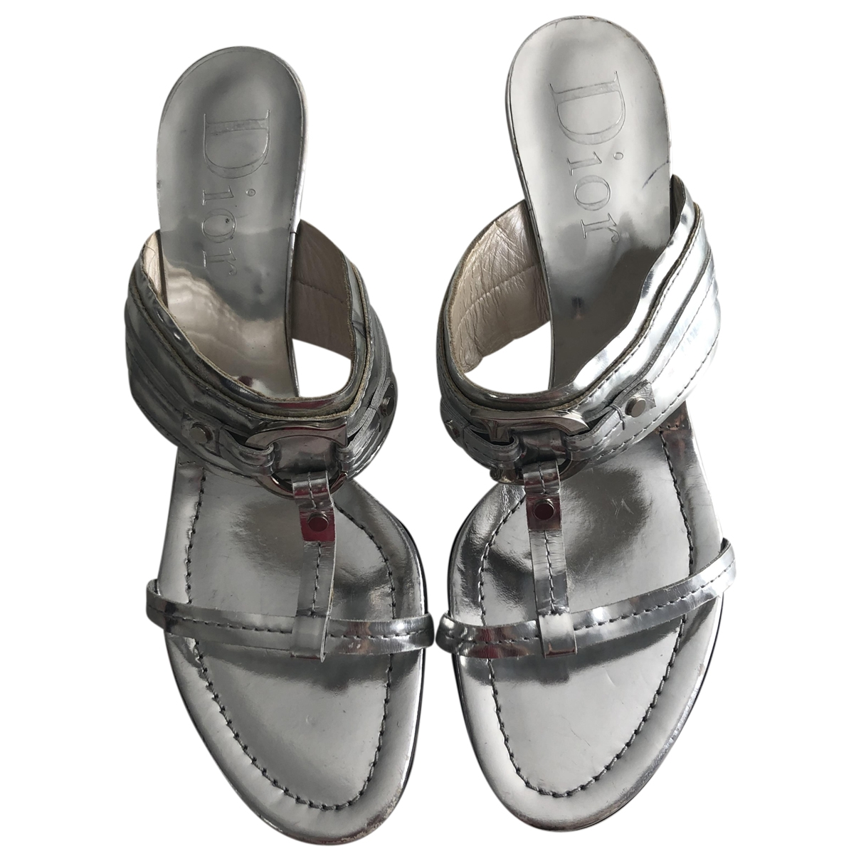 Dior - Sandales   pour femme en cuir - argente