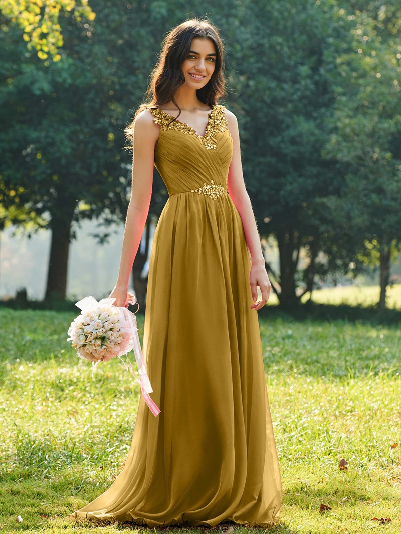 Ericdress V Neck A Line Beaded Long Bridesmaid Dress