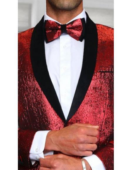 Tuxedo 2Toned Red paisley sequin looking Fashion Blazer Sport coat