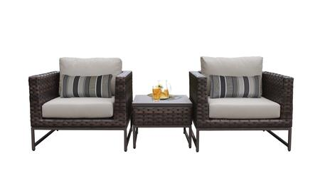 Barcelona BARCELONA-03a-BRN 3-Piece  Patio Set 03a with 2 Club Chairs and 1 End Table - 1 Beige Cover with Brown