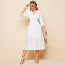 Kleid mit V Kragen, Schosschenaermeln und Raffung Detail
