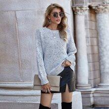 Strick Pullover mit Marmor Muster und sehr tief angesetzter Schulterpartie