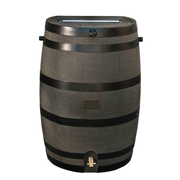 Rain Barrel with Flat Back and Brass Spigot, 50 gallon, Brown