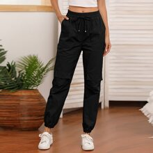 Drawstring Waist Flap Pocket Cargo Pants