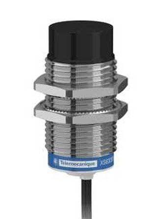 Telemecanique Sensors M30 x 1.5 Inductive Sensor - Barrel, NPN-NO Output, 30 mm Detection, IP65, IP67, IP69K, Cable