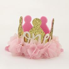 Toddler Girls Flower Decorated Crown Headband