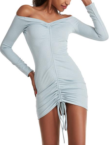 Milanoo Summer Dresses Off-The-Shoulder Drawstring Drawstring Ecru White Short Sundress