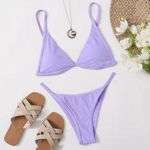 Tie Back Triangle Thong Bikini Swimsuit