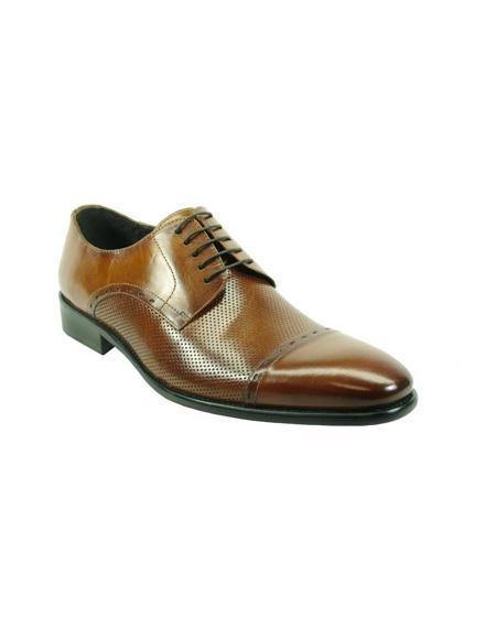 Mens Lace-Up Shoes by Carrucci - Cognac