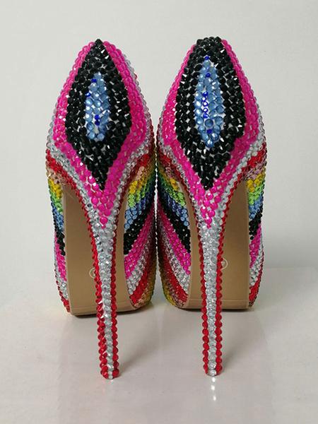 Milanoo Zapatos de fiesta de tacon alto Zapatos de noche de bloque de color de diamantes de imitacion de lujo