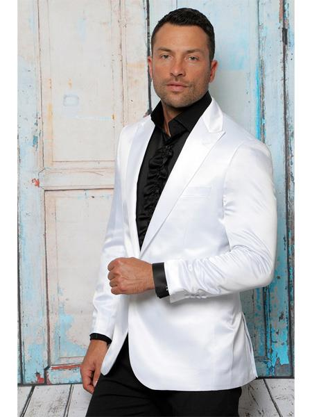 Mens Shiny Flashy Satin Solid Blazer ~ Sport Coat white Available