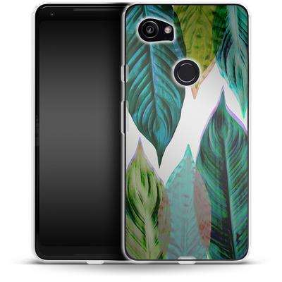 Google Pixel 2 XL Silikon Handyhuelle - Green Leaves von Mareike Bohmer