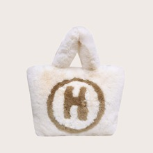 Letter Graphic Fluffy Tote Bag