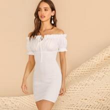 Frilled Off Shoulder Shirred Dress