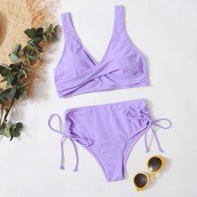 Bikini Badeanzug mit Twist vorn und seitlichem Band