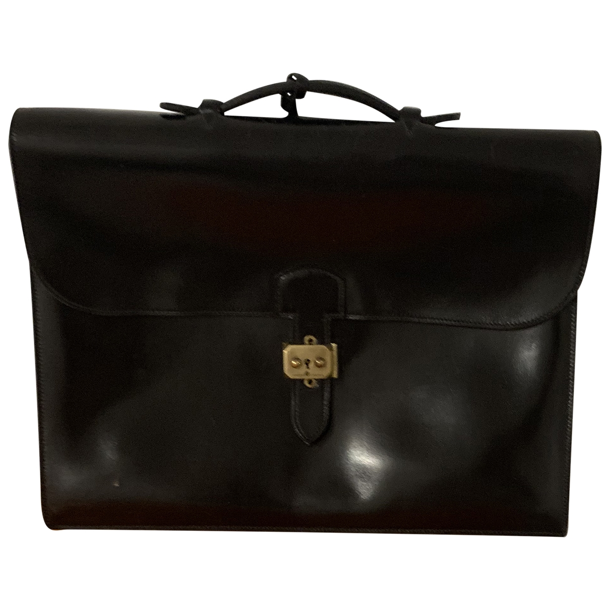 Hermès Sac à dépèches Black Leather bag for Men \N