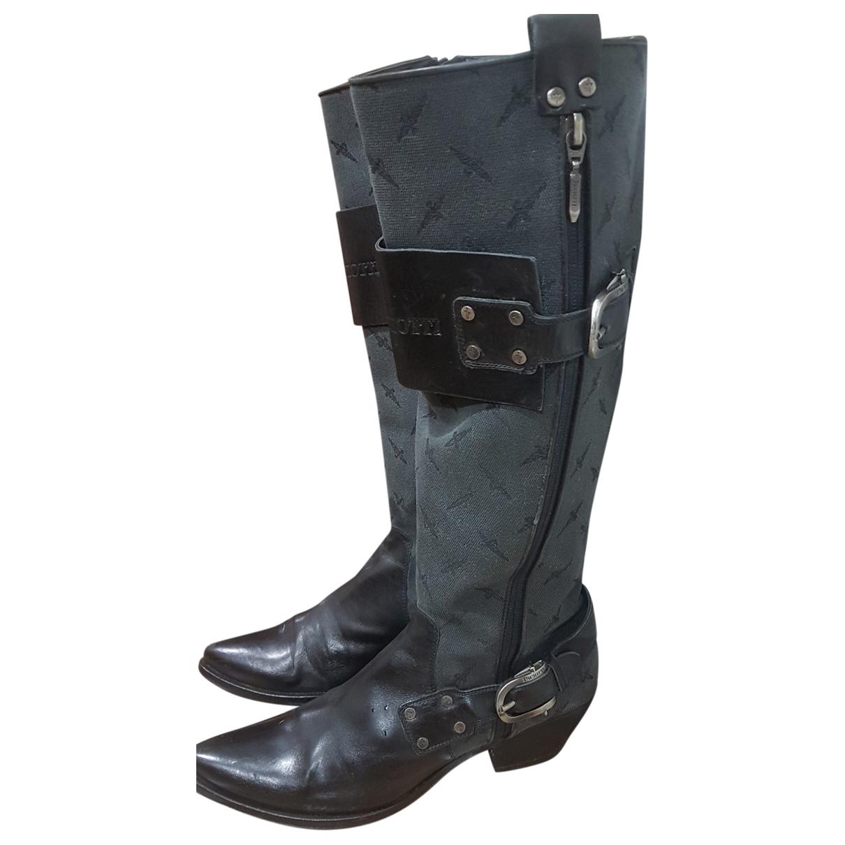Cesare Paciotti N Black Leather Boots for Women 39 EU