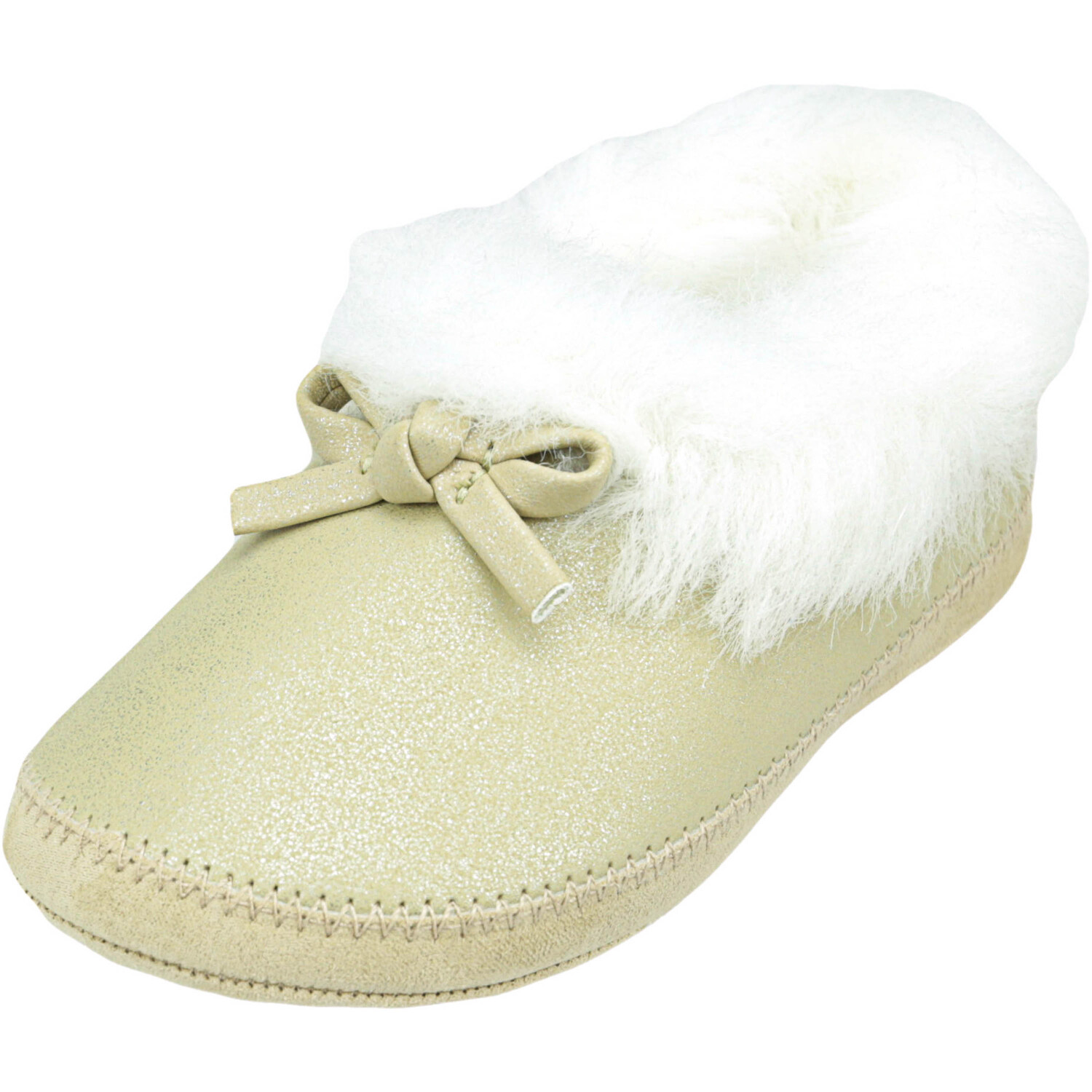 Janie And Jack Girl's Shimmer Slipper Light Toffee Ankle-High - 7M
