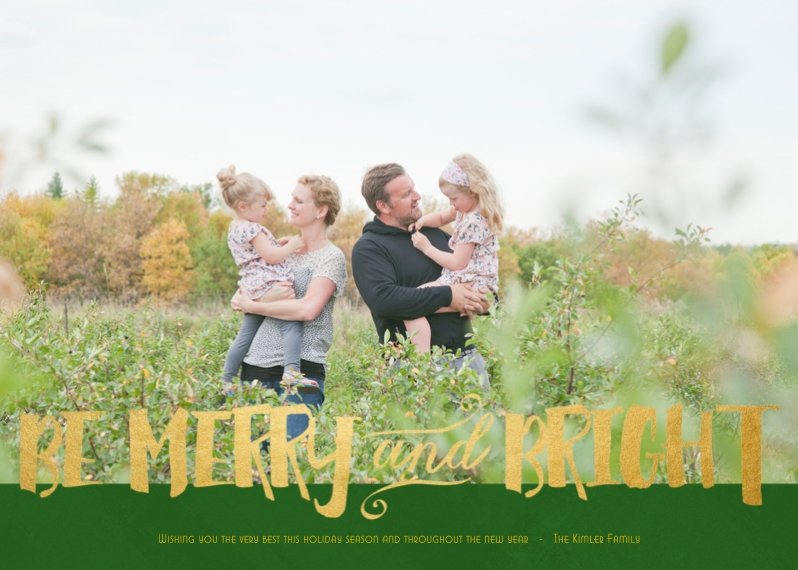 Christmas Photo Cards 5x7 Cards, Premium Cardstock 120lb with Scalloped Corners, Card & Stationery -Bright in Gold