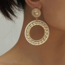 Chain Round Drop Earrings