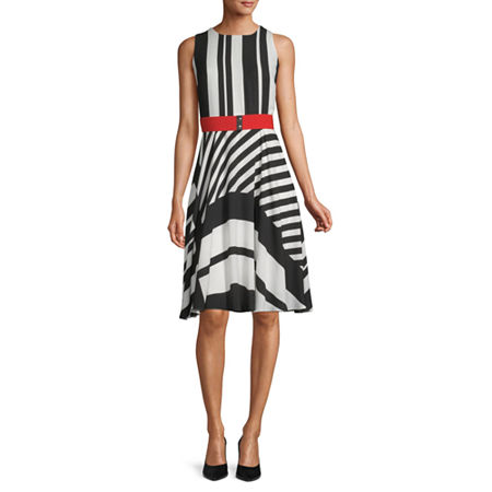 Danny & Nicole Sleeveless Striped Fit & Flare Dress, 4 , Black