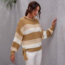 Pullover mit Stehkragen, Farbblock und seitlichen Knoten