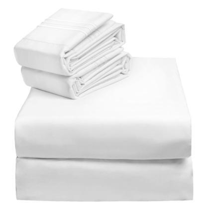 Literie Set Literie 120 GSM microfibre Super doux Chambre Reine Taille 4Pcs Blanc - Livingbasic ™