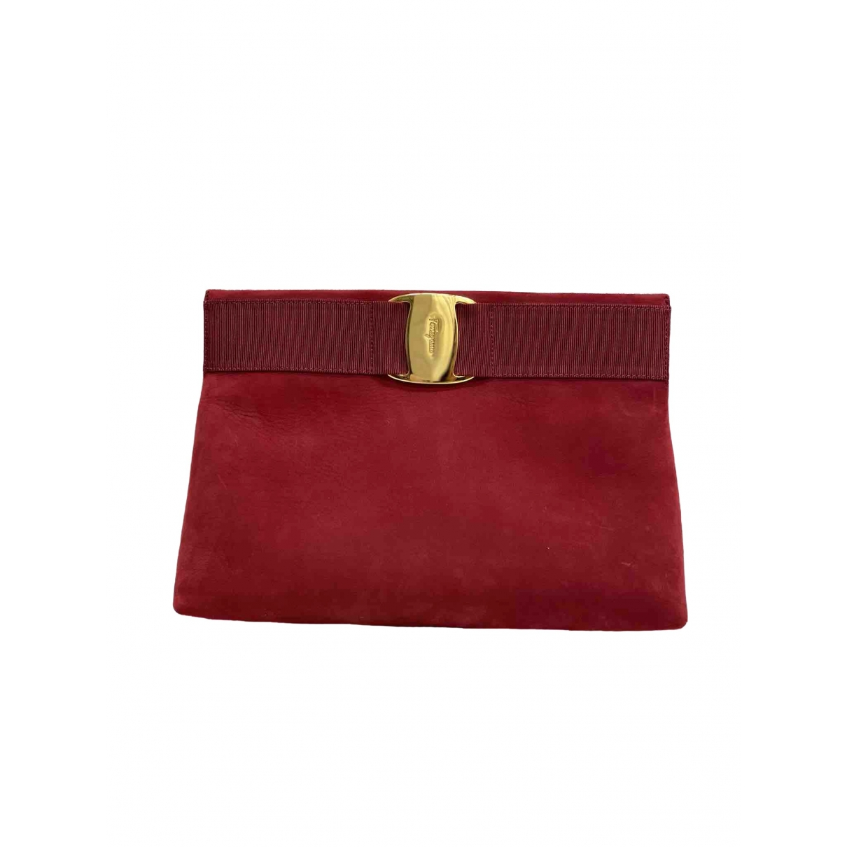 Salvatore Ferragamo \N Clutch in  Rot Veloursleder