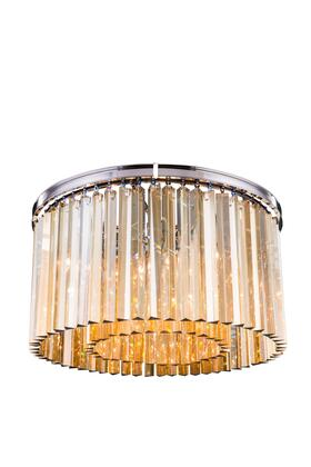 1208F26PN-GT/RC 1208 Sydney Collection Flush Mount D: 26 H: 13.5 Lt: 8 Polished nickel Finish (Royal Cut Golden Teak