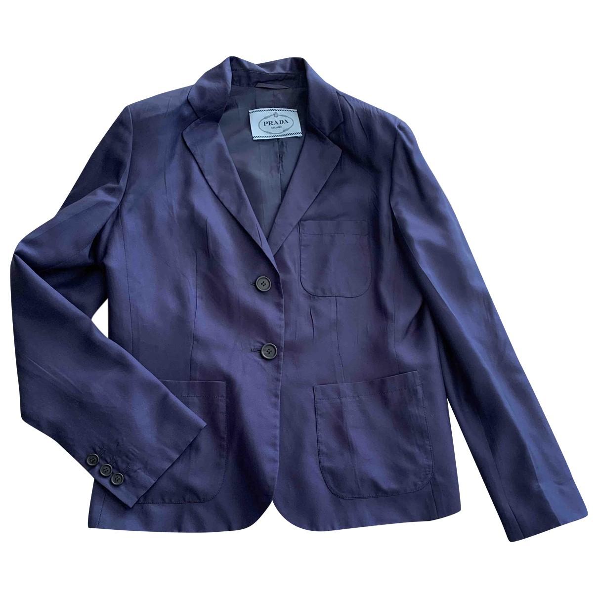 Prada - Veste   pour femme en soie - bleu