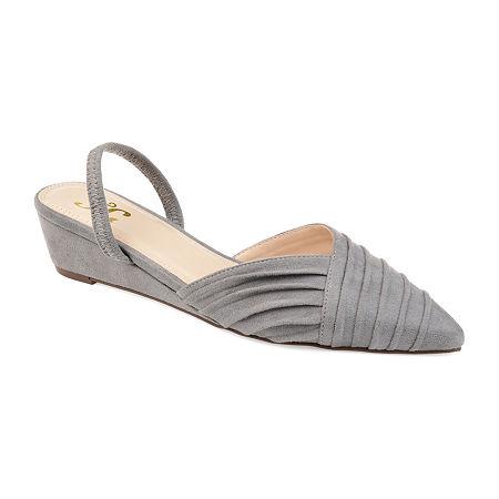 Journee Collection Womens Kato Pumps Slip-on Pointed Toe Wedge Heel, 7 1/2 Medium, Gray