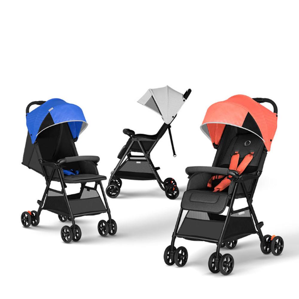 QBORN TQ02OS Lightweight Folding Baby Stroller Baby Cart One-Button Opening/Closing 110-165 Degrees Adjustment Waterproo