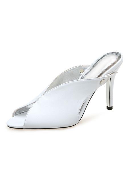Milanoo Zapatos de tacon de aguja con escote en V sin mangas y mulas con corte en V para mujer