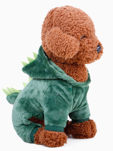 Milanoo Pet Halloween Costume Dinosaur Cartoon Green Clothes Polyester Pet Supply