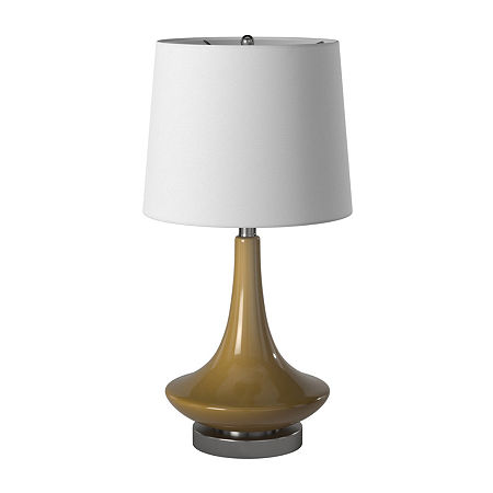 Stylecraft 14 W Beige Glass Table Lamp, One Size , Beige