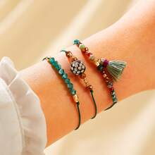 Tassel Charm Beaded Bracelet 3pcs